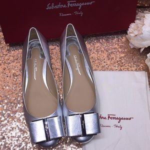 Salvatore Ferragamo Silver Heels 7M